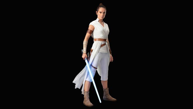 Rey, Daisy Ridley, Star Wars: The Rise of Skywalker, Black background, 5K, 8K, Wallpaper