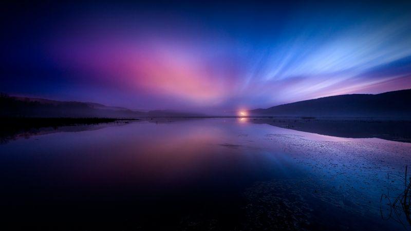 Aurora Borealis, Landscape, Dusk, Lake, Reflections, Dawn, 5K, 8K, Wallpaper