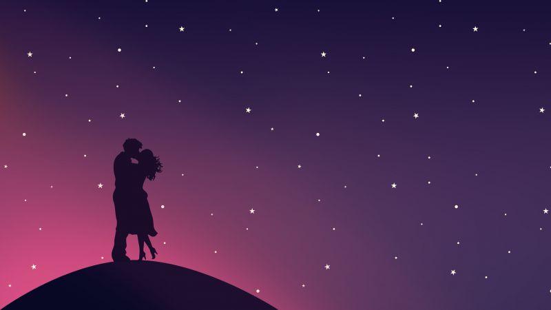 Kissing couple, Silhouette, Starry sky, Romantic, Lovers, Pair, Aesthetic, 5K, Wallpaper