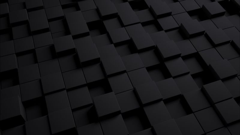 3D 4K Wallpaper, Cubes, Squares, Black/Dark, #895