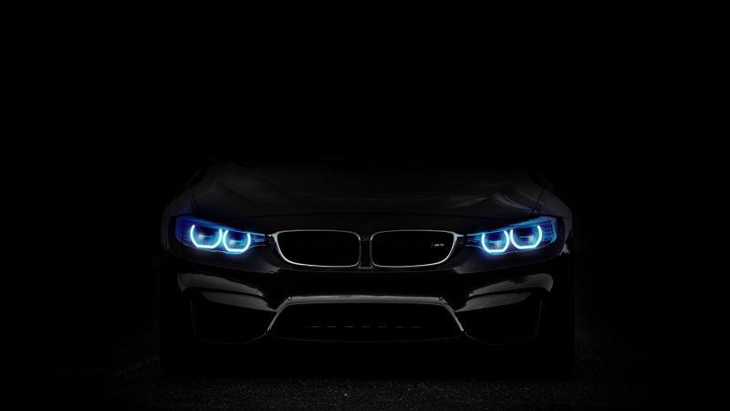 BMW M3, Angel Eyes, Black background, 5K, Wallpaper