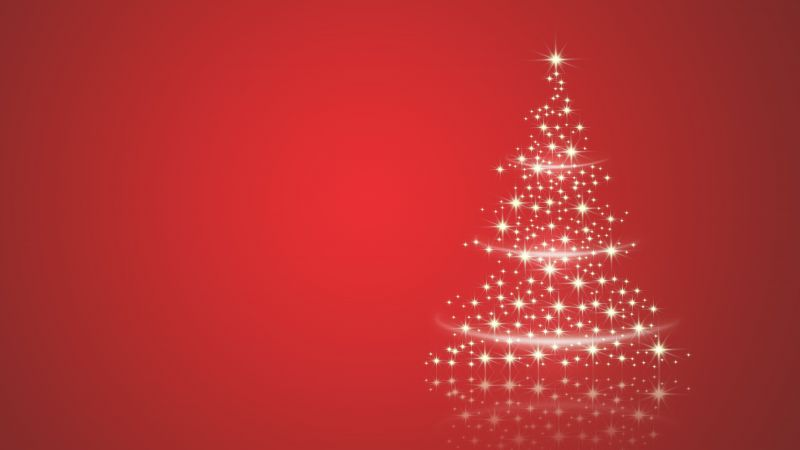Christmas tree, Sparkles, Red background, Wallpaper