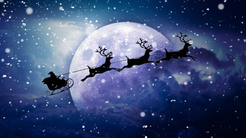 Santa Claus chariot, Moon, Snowfall, Winter, Reindeer Chariot, Wallpaper