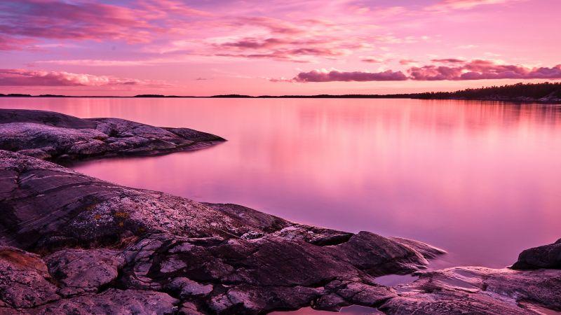 Sunset, Scenery, Lake, Rocks, Pink sky, 8K, Wallpaper