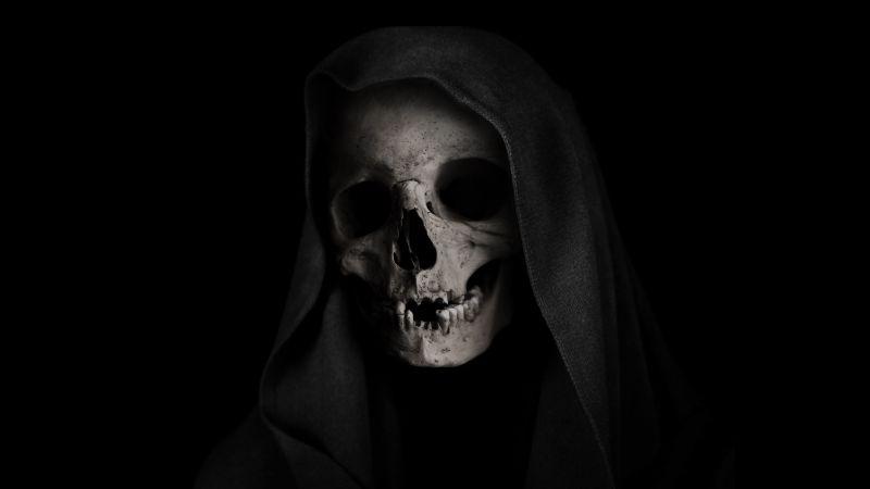 Grim Reaper, Skull, Black background, Scary, 5K, Wallpaper