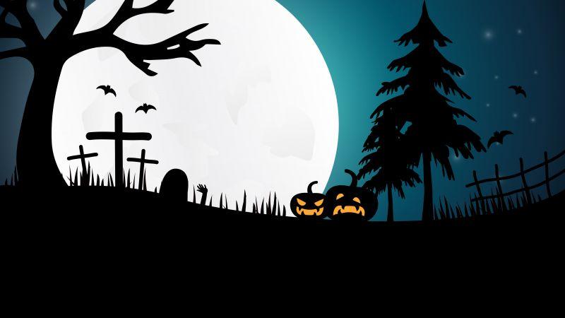Halloween pumpkins, Moon, Night, Silhouette, 5K, Wallpaper