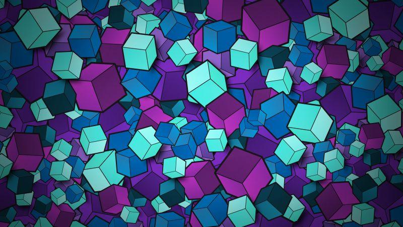 3D cubes, Colorful, Geometric, Patterns, Wallpaper
