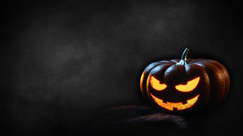 Halloween Pumpkin, Scary, Dark, Glowing, Wallpaper