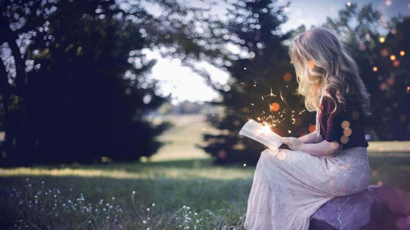 Girl, Magical, Reading book, Girly, Sparkles, Fantasy, 5K, Wallpaper