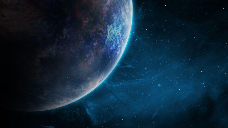 Planet, Galaxy, Blue, Stars, Cosmos, Wallpaper