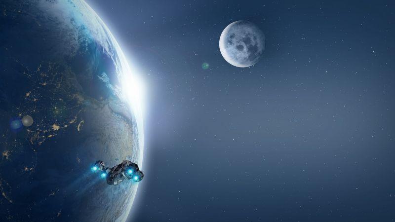 Spaceship, Earth, Moon, Planets, Stars, Blue, 5K, Wallpaper