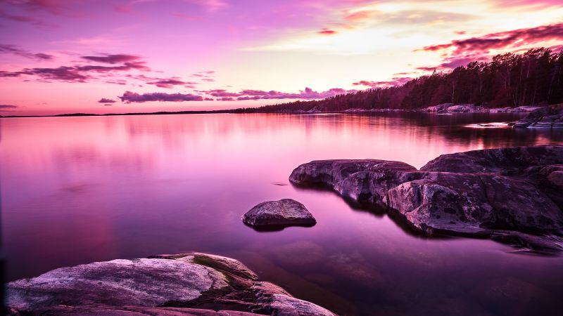 Sunset, Lake, Purple, Pink sky, Scenery, Body of Water, Rocks, 5K, 8K, Wallpaper