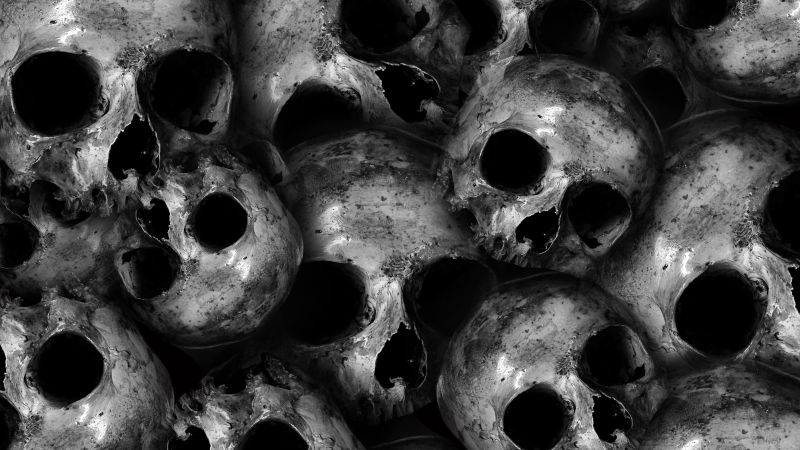Skulls, Scary, Monochrome, 5K, Wallpaper