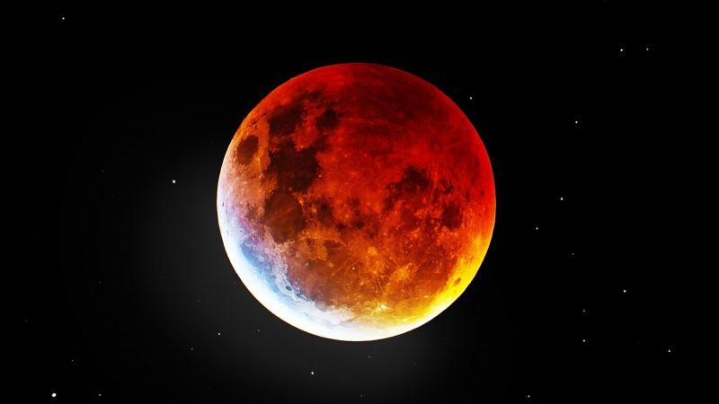 Blood Moon, Night, Dark background, 5K, Wallpaper