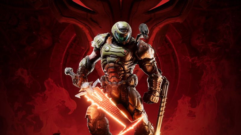 Doom Eternal, Doomguy, Doom Slayer, 2020 Games, PlayStation 4, Google Stadia, Xbox One, Nintendo Switch, PC Games, Wallpaper