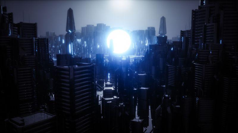 Futuristic city, Energy, Moon, Dark, Power, Wallpaper