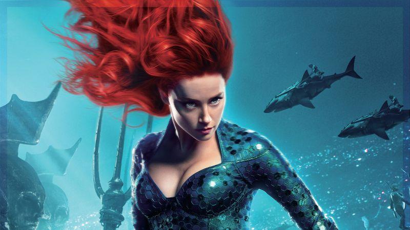 Mera, Amber Heard, Aquaman, DC Comics, Wallpaper