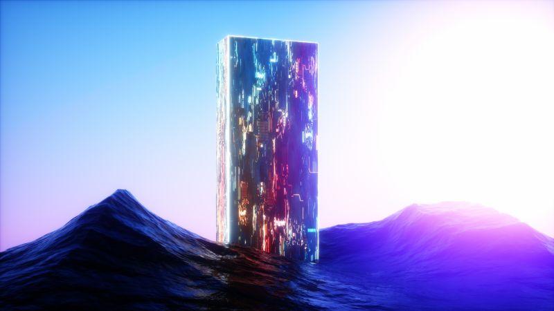 Extraterrestrial, Ocean, Neon, Sunlight, Clear sky, Wallpaper
