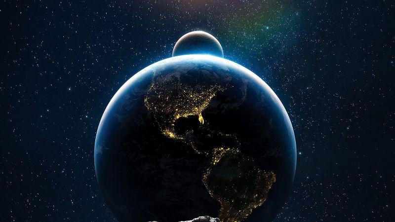 Earth, Moon, Sun, Solar system, Asteroids, Wallpaper