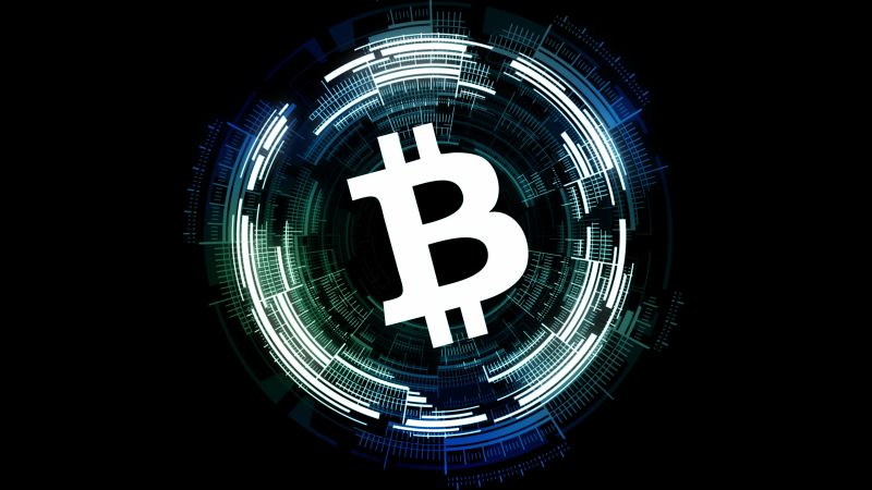 Bitcoin, Cryptocurrency, Black background, Wallpaper