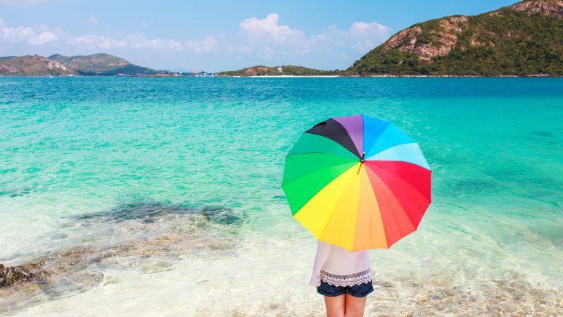 Beach, Girl, Umbrella, Sea, Fashion, Sunny day, 5K, Wallpaper