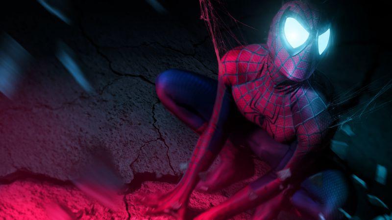 Iron Spider, Spider-Man, Neon, Cosplay, Marvel Superheroes, Wallpaper