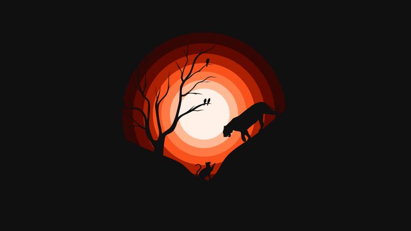 Jaguar, Cat, Sun, Silhouette, Black background, Orange, Wallpaper