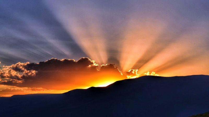 Sunset, Hills, Sun rays, Clouds, 5K, Wallpaper