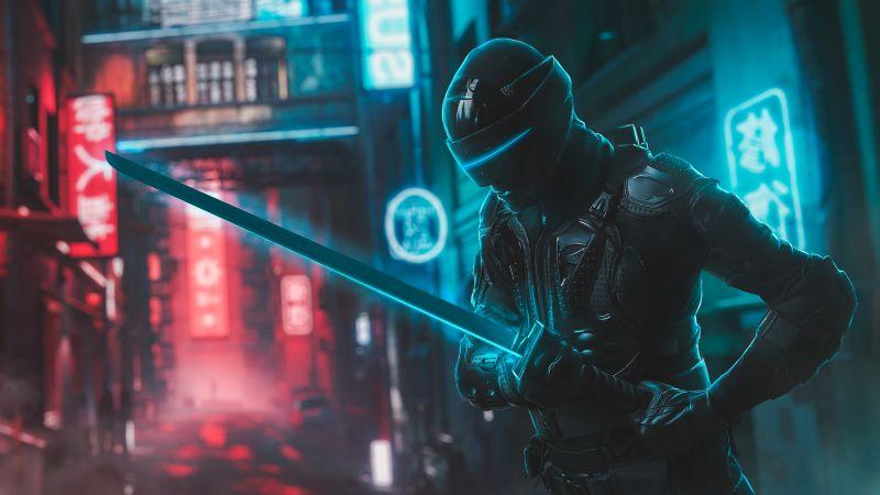 Snake Eyes, Katana, Ninja, Neon, Wallpaper