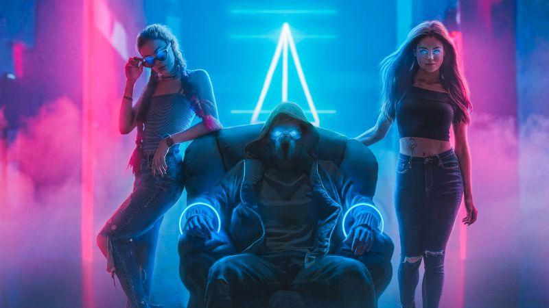 Bad boy, Bad girls, Neon light, Night club, Mask, Cyberpunk, Digital Art, Wallpaper