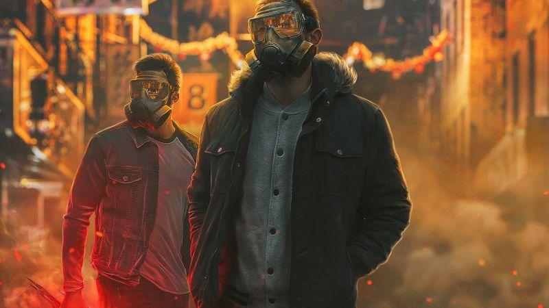 Gas masks, Security, Cane Corso dogs, Black dog, Wallpaper