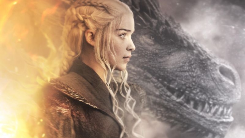 Daenerys Targaryen, Emilia Clarke, Dragon, Wallpaper