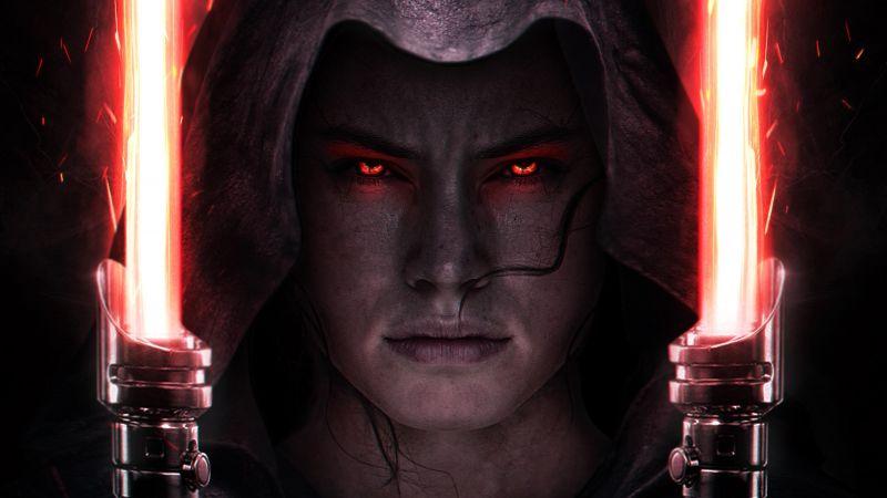 Star Wars: The Rise of Skywalker, Rey, Daisy Ridley, Lightsaber, Wallpaper