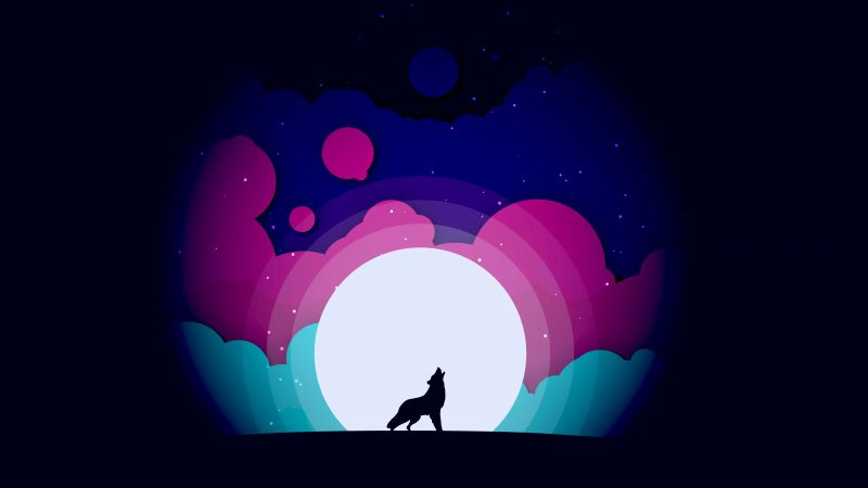 Wolf, Howling, Gradients, Moon, Silhouette, Colorful, Black background, Wallpaper