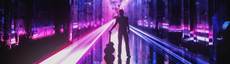 Neon, Guitar, Musician, Silhouette, Cyberpunk, Future City, Aesthetic