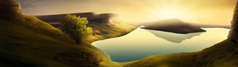 Landscape, Sunset, Mountains, Lake, Reflection, Clear sky, 5K