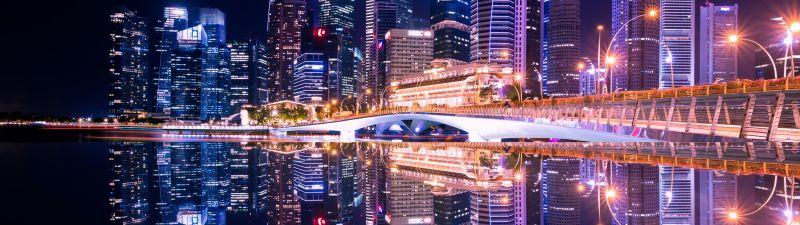 City Skyline, Singapore, Skyscrapers, Modern architecture, Body of Water, Reflection, Symmetrical, Cityscape, Night time, City lights, Beautiful, 5K