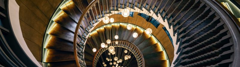 Wooden stairs, Spiral staircase, Hanging lights, Chandelier, Modern lighting