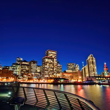 San Francisco, Cityscape, Night, City lights, Skyline, Night sky, Reflections