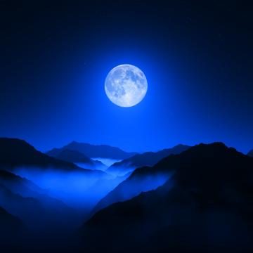 Twilight Moon, Valley, Mountain range, Night sky, Foggy, Silhouette, Aerial view