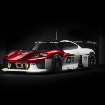Porsche Mission R, Electric Sports cars, Black background, 2021, 5K, 8K
