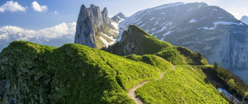 Appenzell Alps, Switzerland, Mountain range, Glacier mountains, Snow covered, Hiking trail, Landscape, Scenery, Day time, 5K