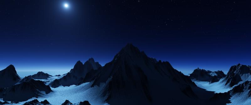 Antarctica, Mountain range, Glacier, Snow covered, Night sky, Moon light, Stars, Landscape, Scenery