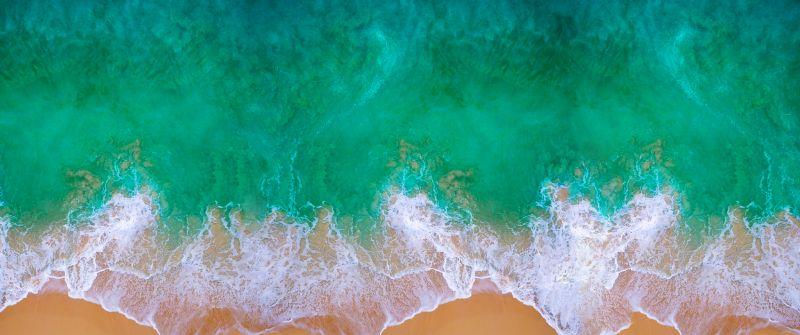 Beach, Aerial view, Waves, Ocean, MacBook Pro, iOS 11, Mac OS, Waterscape, Shore, Digital Art, Apple iMac, 5K