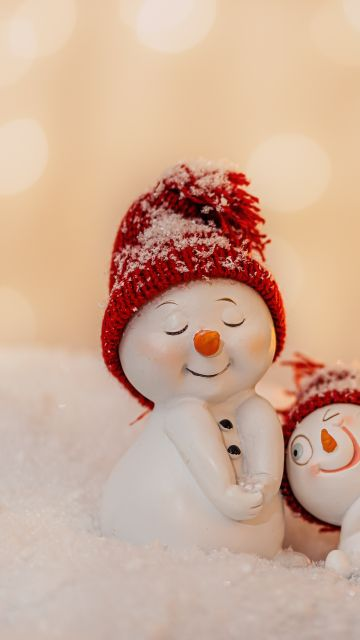 Snowmen, Decoration, Christmas Eve, Happy, Snow, Cute expressions, 5K