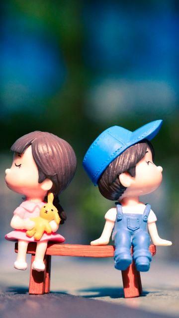 Cute couple, Adorable, Bench, Bokeh, Cute pair, Dolls