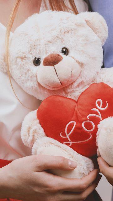 Teddy bear, Couple, Heart, Valentine, Romantic, Cute, 5K