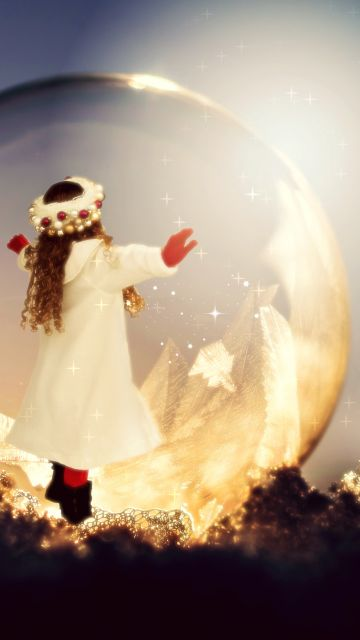 Baby girl, Child, Soap Bubble, Frozen bubble, Sunlight, Christmas, Winter, Bokeh, Xmas, Surreal, Cute Girl, 5K