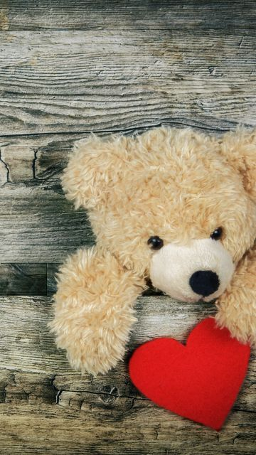 Teddy bear, Red heart, Wooden background, Soft toy, Stuffed, Valentine's Day, Cute Bear, Emotions, 5K