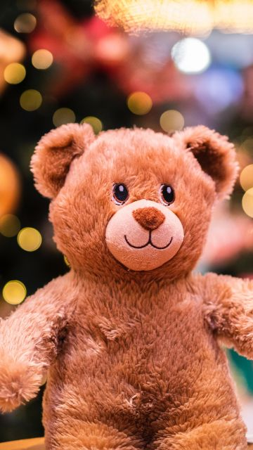Teddy bear, Brown, Bokeh, Lights, Gift, Cute, Fluffy Bear, Dolls, 5K